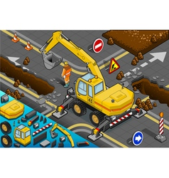 Isometric Yellow Excavator with Four Arms in Rear vector image vector image