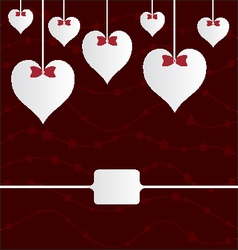 valentine hearts with ribbons on red vector image vector image