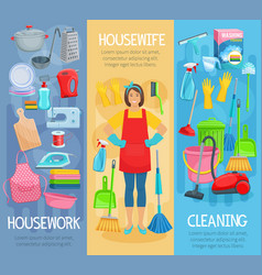 banners for home housework cleaning washing vector image vector image