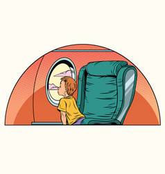 caucasian boy passenger looks out the window on an vector image