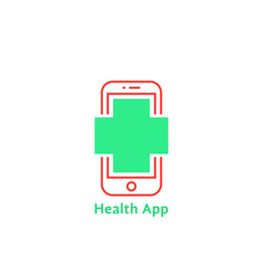 red thin line phone like simple health app logo vector image vector image