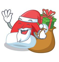 santa with gift christmas hat character cartoon vector image