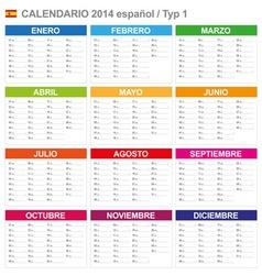 Calendar 2014 Spain Type 1 vector image