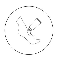 cream for feet icon in outline style isolated on vector image