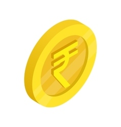 Gold coin with rupee sign icon isometric 3d style vector image