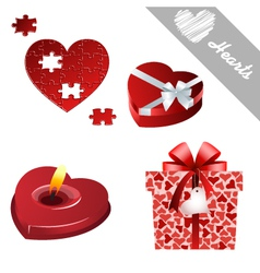 hearts valentines icons vector image