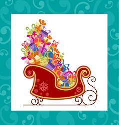 Santa sled with colorful gifts vector image vector image