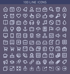 100 line icons vector image vector image