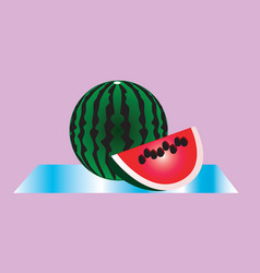 A large striped watermelon and a cut piece of ripe vector