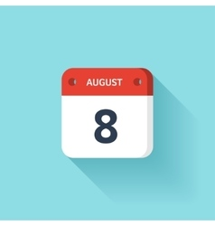 August 8 Isometric Calendar Icon With Shadow vector image vector image