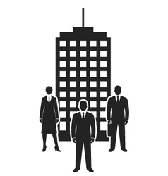 Business team standing near building black icon vector