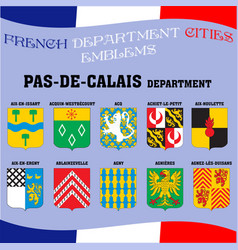 flags and emblems of french department cities vector image