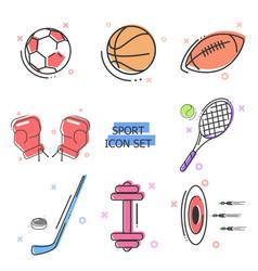 flat line art icon set sport icons kit vector image