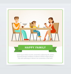 happy young family having breakfast together vector image vector image