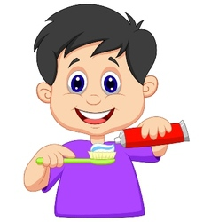 Kid cartoon squeezing tooth paste on a toothbrush vector image vector image