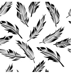 seamless outline feathers linear feathers pattern vector image vector image
