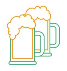two beer glass foam drink fresh vector image