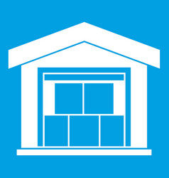 warehouse building icon white vector image