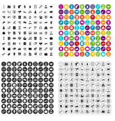 100 business activity icons set variant vector