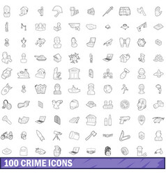 100 crime icons set outline style vector image
