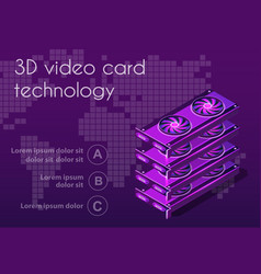 3d isometric video graphic card vector