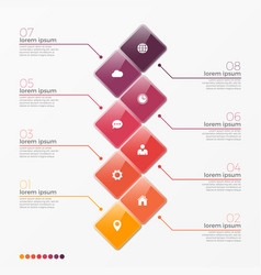 8 option infographic template with squares vector image