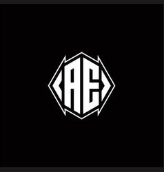 Ae logo monogram with shield shape designs vector