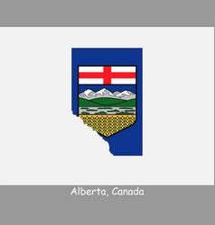 alberta canada map flag vector image