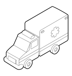 Ambulance icon outline style vector image
