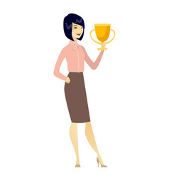 Asian business woman holding a trophy vector