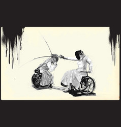 athletes with physical disabilities - fencing vector image