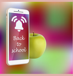 Back to school smartphone green apple vibrant vector
