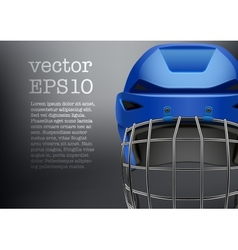 Background of classic blue ice hockey helmet with vector