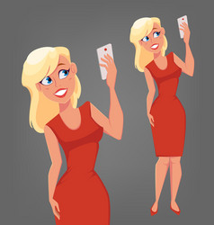 Beautiful blonde woman with big blue eyes holding vector