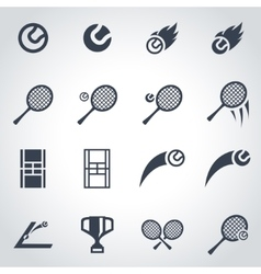 Black tennis icon set vector