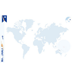 Blue world map with magnifying on marshall islands vector