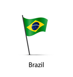 brazil flag on pole infographic element on white vector image