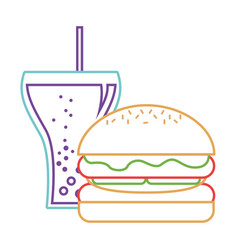 burger and soda glass straw fast food vector image