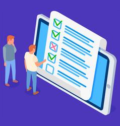 Businessmen checking correctness questionnaire vector
