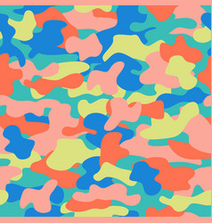 Camouflage seamless pattern in a blue green pink vector