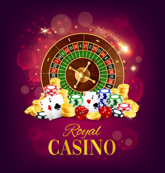 casino roulette wheel golden coins and chips vector image