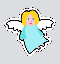 Christmas angel blue clothes white long wings vector