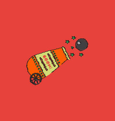 Circus cannon flat icon in hatching style vector