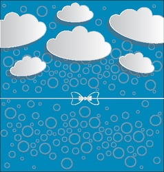 clouds on blue background with circles and ribbon vector image