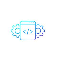 Code optimization line icon on white vector