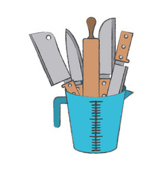 container with knifes and rolling pin colorful vector image