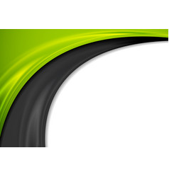 Contrast green and black waves abstract background vector