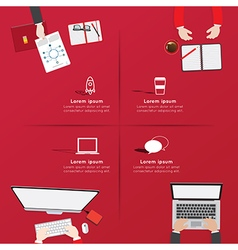 Creative business office workspace Infographic vector image