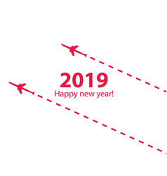 Creative happy new year 2019 design with airplane vector