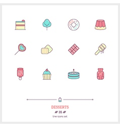 Desserts Line Icons Set vector image
